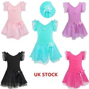 UK-Kids-Girls-Ballet-Dance-Leotard-Dress-Ballerina-Dancewear-Gymnastics-Costume