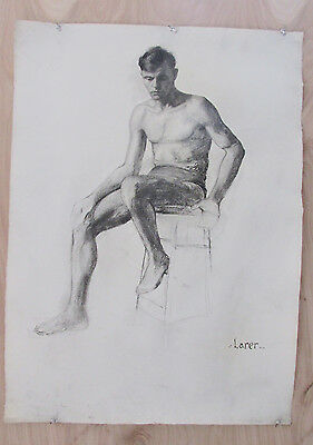 Vintage Male Nude Charcoal Anatomy Drawing Sign Larer 22 x 30 Figure #1