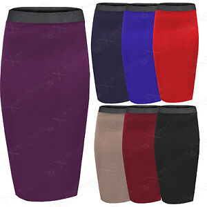 NEW-WOMENS-BODYCON-STRETCH-WAIST-PENCIL-SKIRTS-LADIES-MIDI-SKIRT-LONG-WORK-LOOK