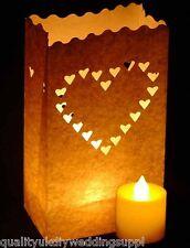 10 White Hearts Paper Bag Lanterns + 10 Battery LED Tea lights Candle Combo Pack
