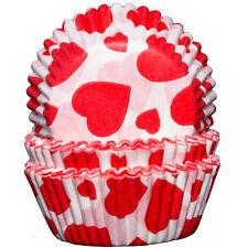 Weiß mit Roten Herzen Cupcak Becher x60 Backen Muffin