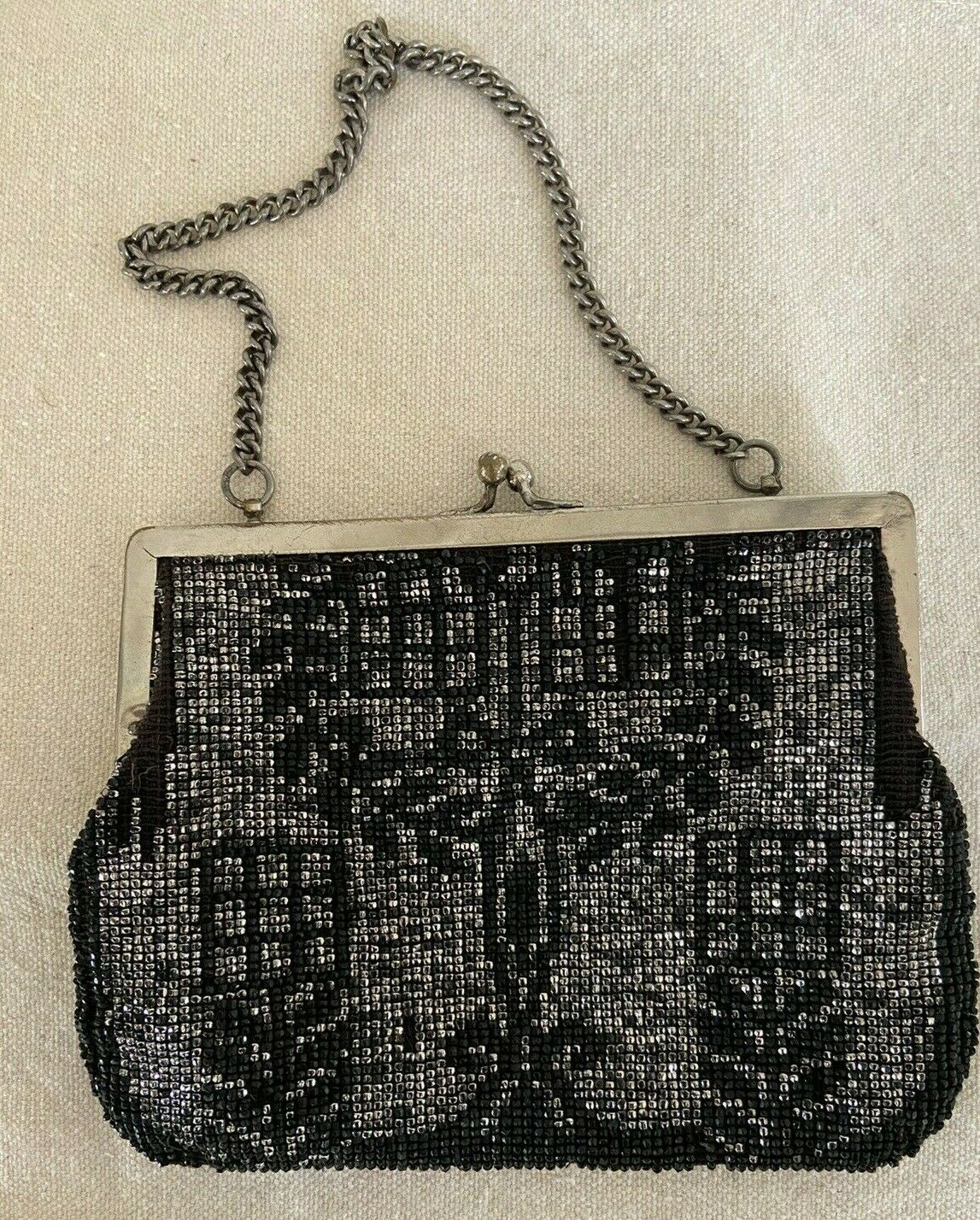 VINTAGE Black and Silver Faceted Beaded Evening Purse
