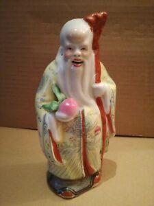 Statua Statuina Scultura San Xing - Shou Xing - Ceramica Porcellana Cina Oriente