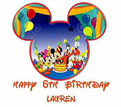 DISNEY  MICKEY MOUSE ******BIRTHDAY***  PERSONALIZED SHIRT IRON ON TRANSFER