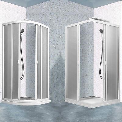 Box doccia cabina profili PVC bianco acrilico regolabile pannelli piumati opaco