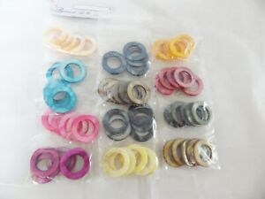 JOB-LOT-of-60-Dyed-Shell-Ring-30mm-Donut-Beads-5-each-of-12-colours