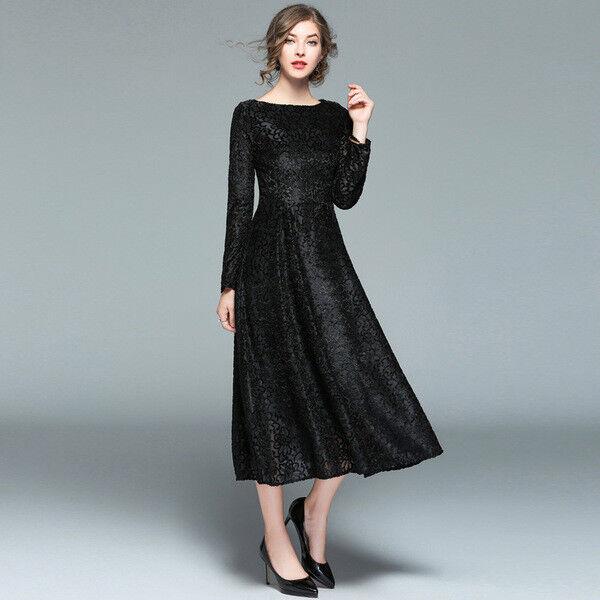 Élégant Habiller des VêteHommests Noir Femme Long Swing Slim Doux 4184