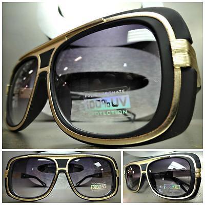 CLASSIC VINTAGE 70/'s RETRO Style SUN GLASSES SHADES Black /& Gold Fashion Frame