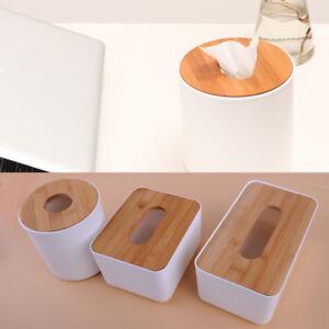 Tissue-Box-Taschentuchspender-Kosmetiktuch-Spender-Holzdeckel-Papiertuecher-Box