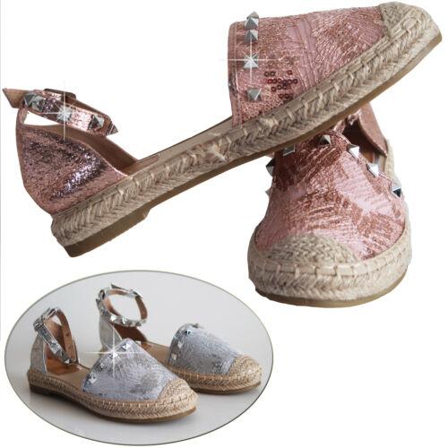 Ladies Womens Belly Flat Loafer Pumps Heel Stud Ankle Strap Espadrilles Sandals