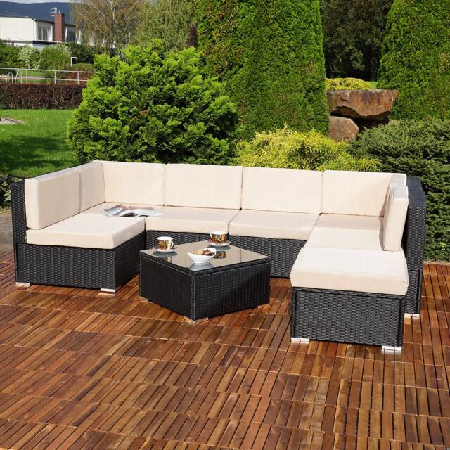 Xxl Poly Rattan Sitzgruppe Tisch Lounge Gartenset Schwarz Garten