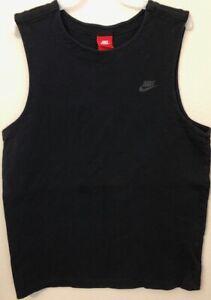 Details about Nike Tank Top Black Muscle Shirt Thick Cotton  Gym/Athletic-wear Men's Size L