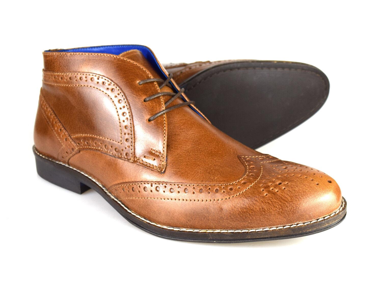 Red Tape Milton Men's Tan Leather Formal Desert Boots   Free UK P&P