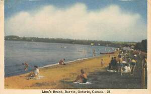 BARRIE-ONTARIO-CANADA-LION-039-S-BEACH-JACK-H-BAIN-PUBLISHED-POSTCARD
