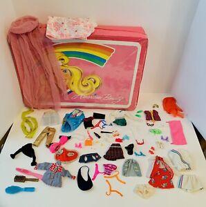Vintage-Barbie-Doll-Case-Clothes-Shoes-Hangers-Sunglasses-Dress-Short-Shirt-Lot