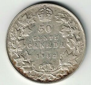 KEY-DATE-CANADA-1932-50-CENTS-HALF-DOLLAR-KING-GEORGE-V-800-SILVER-COIN