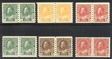 CANADA #125-30 Mint Pairs - 1912-24 K G V P 8.5 Coils