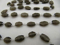 3 Feet Oval Faceted Smoky Chain, Wire Wrapped Beaded Rosary Chain Silver Plated