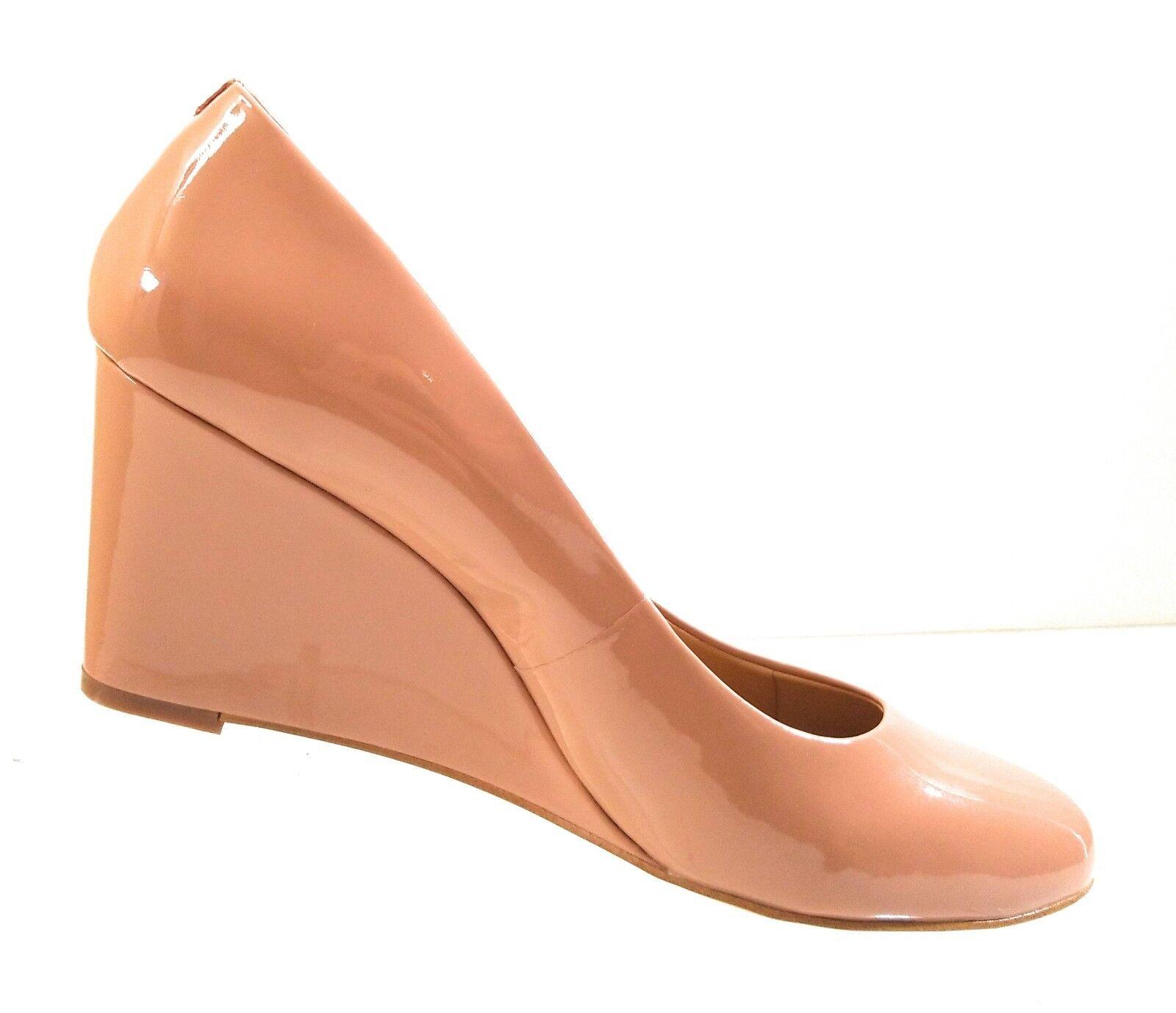 New J J J Crew Sylvia 95993 Women Patent Leather Nude Pumps Heel Wedge shoes Sz 10.5 4366f9