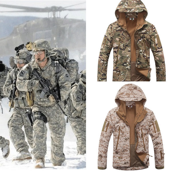 New Men's Camouflage Military Fleece Linning Hooded Coat Army Jacket Outweear
