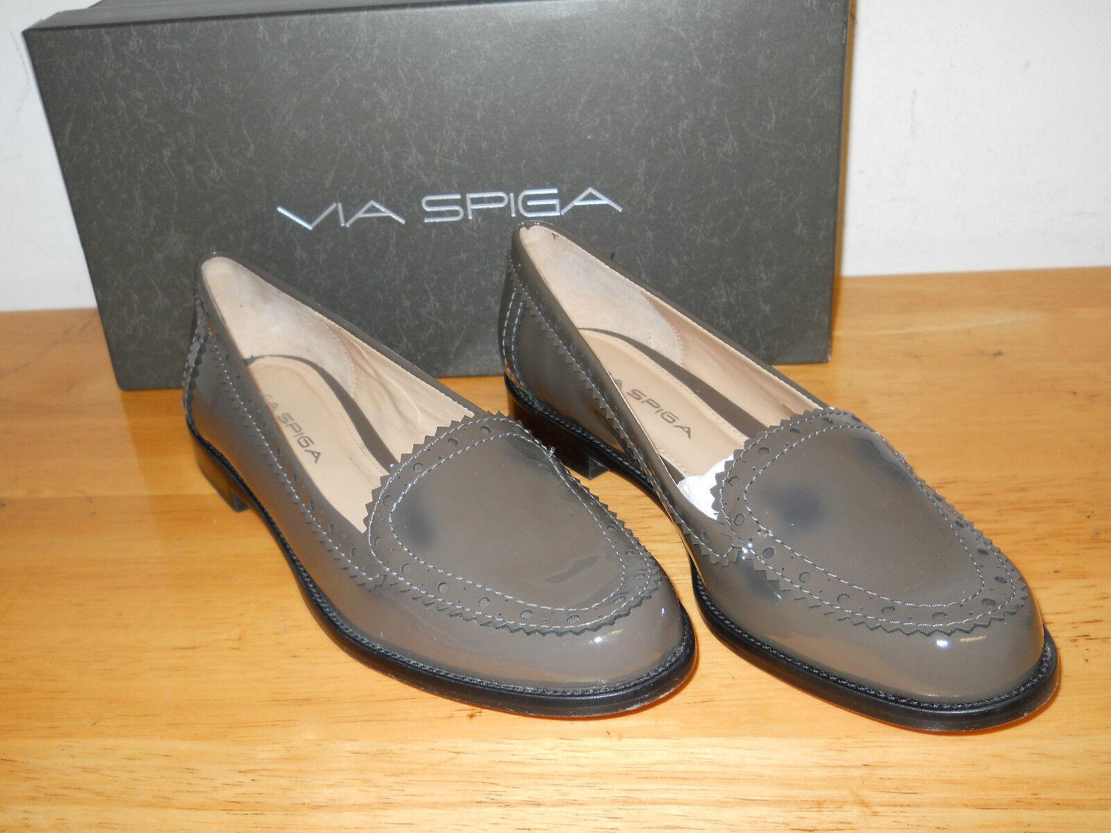Via Spiga NEU Damenschuhe V-Rey Granite Patent Loafers 5.5 M Schuhes NWB