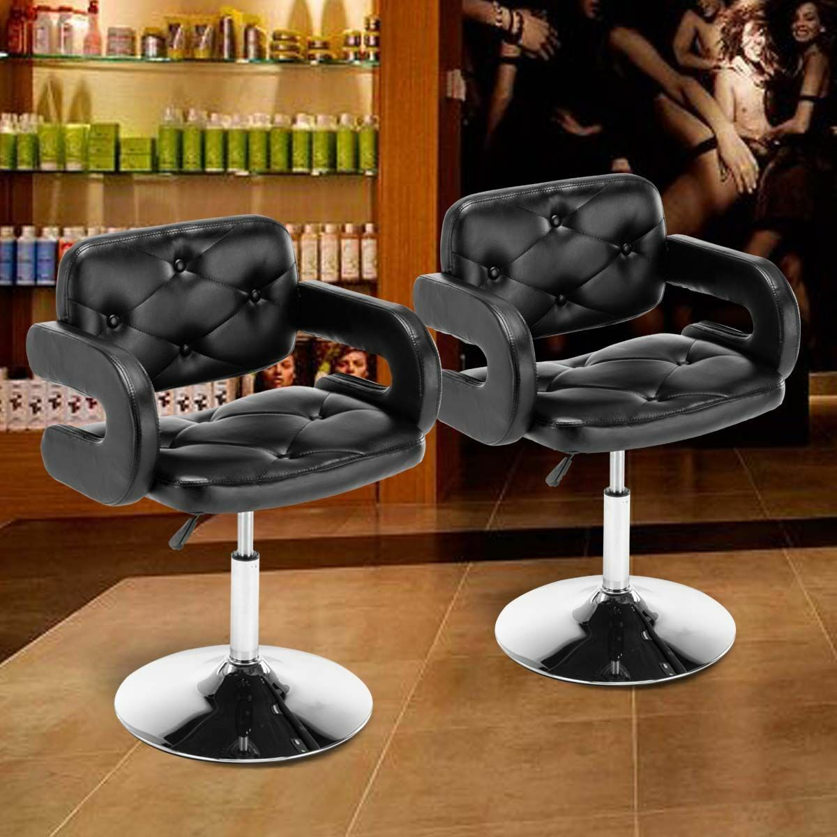 Set Of 2 Black Barber Salon Adjustable Bar Stool Pub Chair