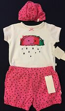 New/Tags 12 Month Rosie Pope Baby Girl's 3-Piece Cotton Short Outfit With Hat