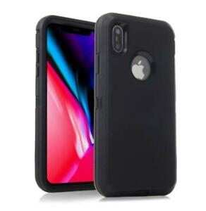 For iPhone 6 6S 7 Plus XS Max XR Case Heavy Duty Shockproof Rubber Cover Black