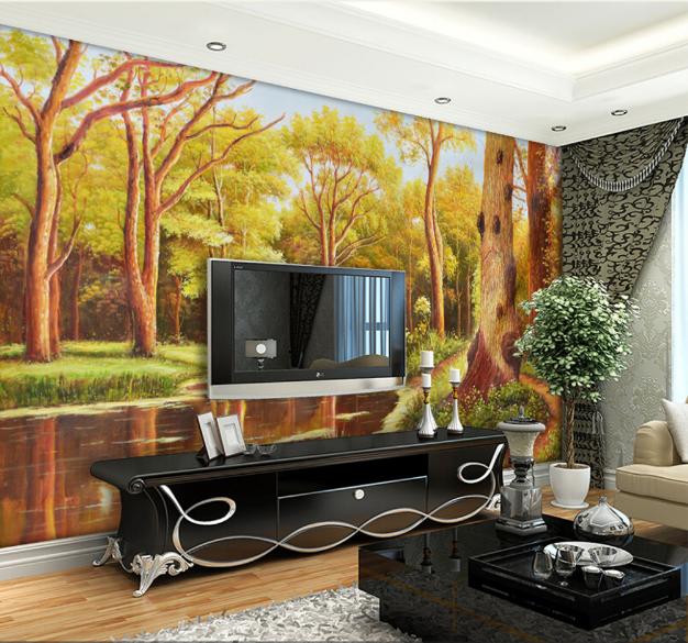 3D Trees Paint 464 Wallpaper Murals Wall Print Wallpaper Mural AJ WALL AU Lemon