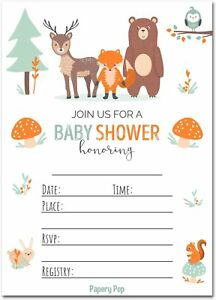 Details About Papery Pop 30 Baby Shower Invitations For Boy Or With Envelopes Pack