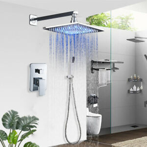Chrome-Finish-Shower-Faucet-8-inch-LED-Rainfall-Shower-Head-with-Hand-Shower-Tap