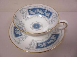 Coalport Revelry Bone China Cup and Saucer Set Cherubs Blue with Gold Trim