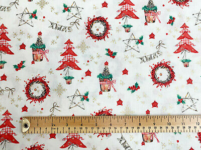 """4 leaf holly 100/% cotton fabric green or ivory 54 /"""" wide per 1//2 metre red"""