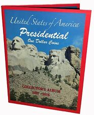 US PRESIDENTIAL $1 ONE DOLLAR COINS COLLECTOR'S ALBUM, BOOK 2007-2016, NEW