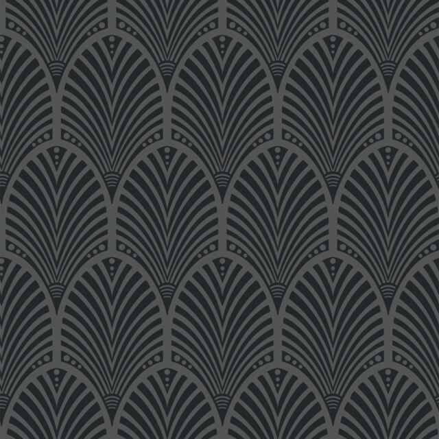 Holden Gatsby Arch Pattern Wallpaper Art Deco Retro Vintage Metallic Embossed Charcoal 65250