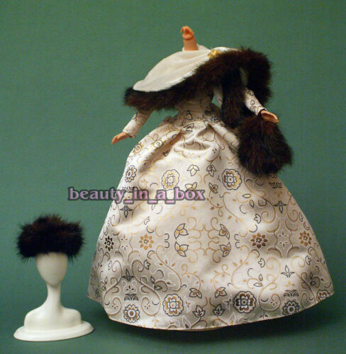 Ivory Satin Winter Gown Gold Print Accents Fur Hat Trim Fashion for Barbie Doll