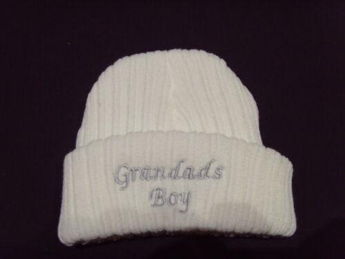 Bébé tricot laine brodé personnalisé chapeau avec disant grandad/'s boy