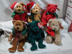 Lot of 6 Christmas Ty Beanie Babies 2003 2001 2005 Holiday Teddy Kringle