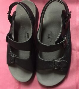 6a33e33b52e Image is loading SAS-Bravo-Black-Leather-Adjustable-Buckle-Comfort-Sandals-