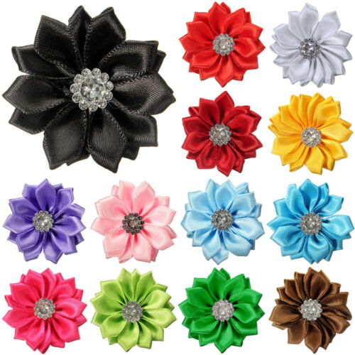 NE/_ 10Pcs Upick Satin Ribbon Flowers Bows Rhinestone Appliques Craft Wedding N