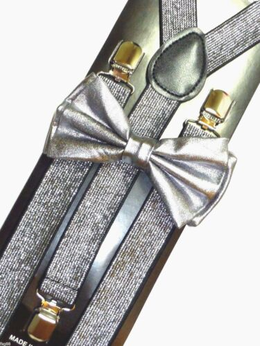 New Metallic Silver Bow Tie /& Matching Suspender Tuxedo Wedding Accessories
