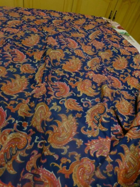 6m,40 en tout x0,90cm tissus polyester,fond bleu marine et volutes colorées