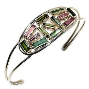 Multi-Tourmaline-Gemstone-Handmade-925-Sterling-Silver-Bracelet-Adjustable-SC-11