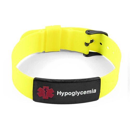 Idtagged Silicone Medical Alert hypoglycémie Matte Black Tag ID Bracelet