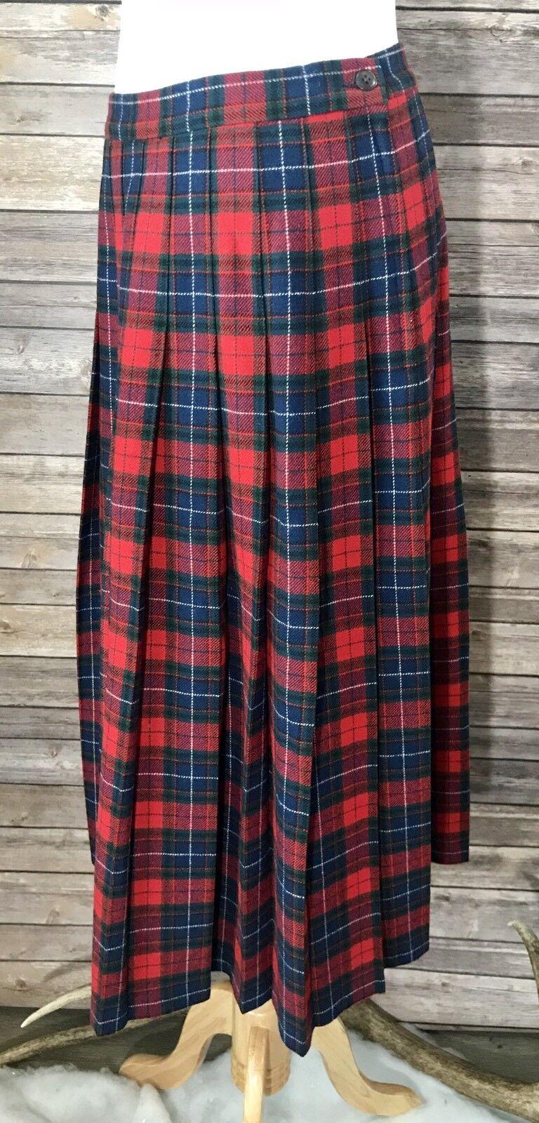 Pendleton Women's Authentic Manson Tartan Plaid Pleated Long Wool Skirt Sz 8