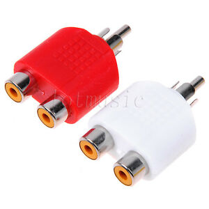 Rca Y Splitter Av Audio Video Plug Converter Red White Ebay
