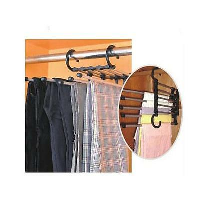 5 in 1 Magic  Stainless Steel Trousers Jeans Pants Hanger Hook Rack Saving Space