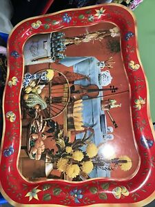 Coca-Cola Tray Large T.V. Style Original Vintage MA Hadley Country Red