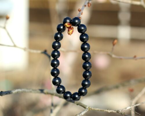 with elastic band,polished bead-8mm from Karelia Russia shungite bracelet