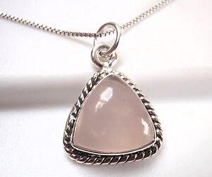 Pink Quartz Rope Pendant Silver
